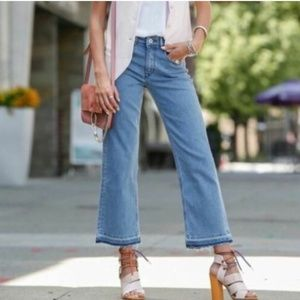 H&M Kick Flare Frayed Crop High Waist Jeans 00 0 2